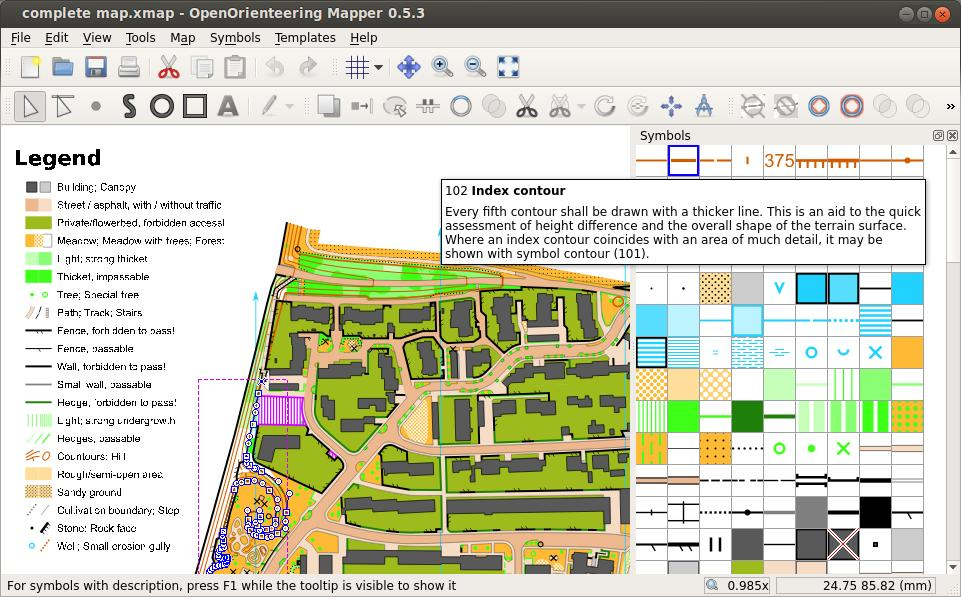 Creating orienteering maps for Map drawing program